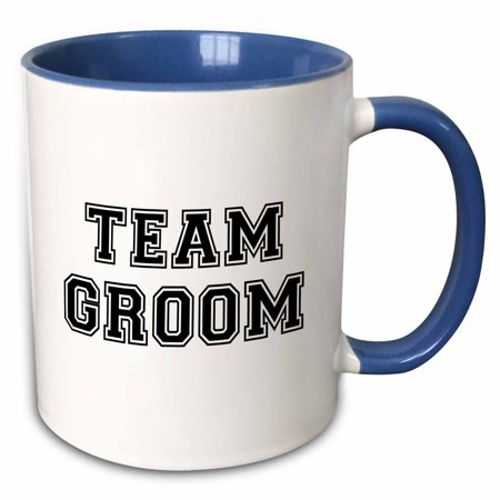 3dRose Team Groom - black text on white - bachelor party stag night gifts - pre-wedding fun celebrations - Two Tone Blue Mug, - Bachelor Party Gifts