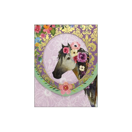 Horse Stationery (Punch Studio Note Pad Pocket Window Horse/Flowers)