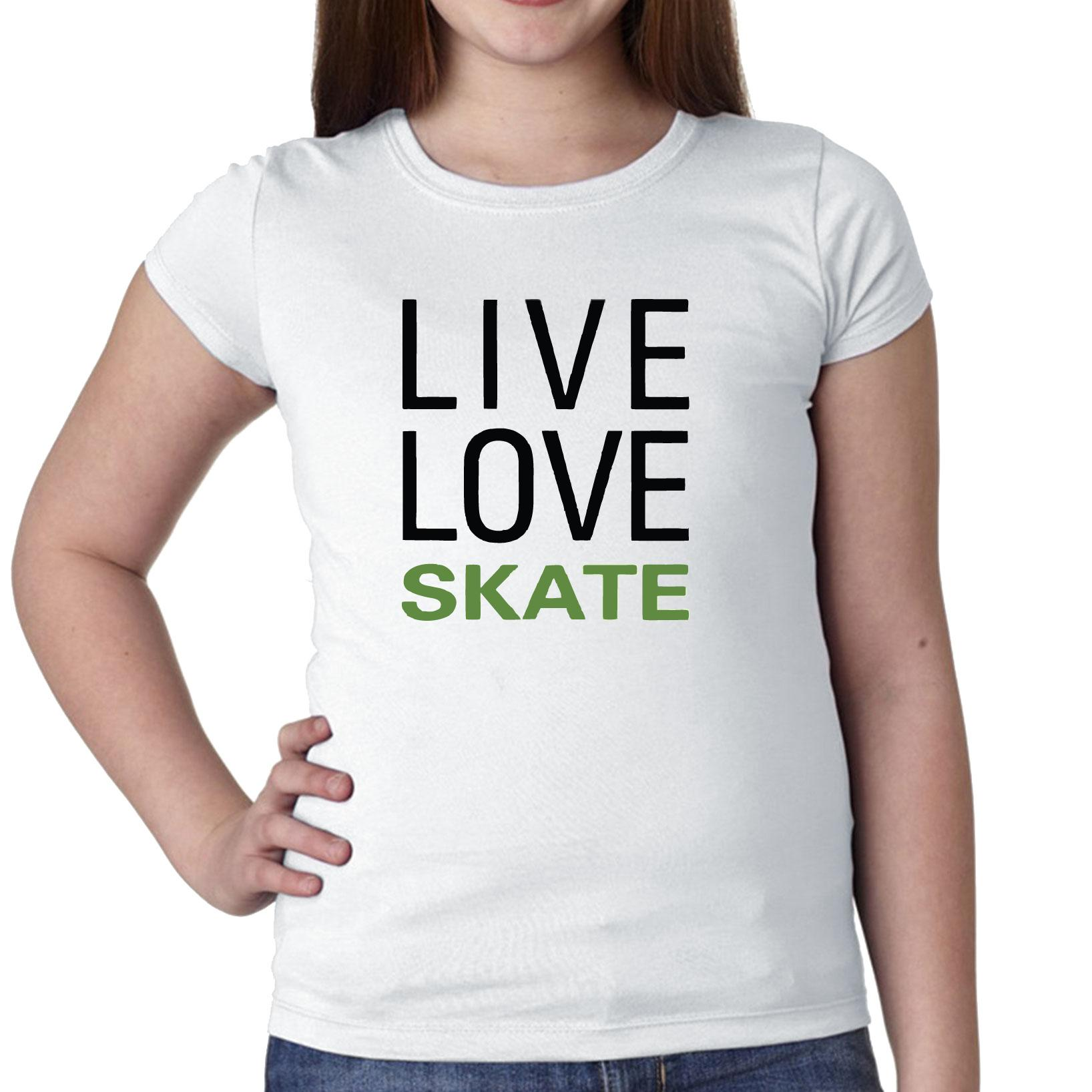 Simple Live Love Skate Skating Large Font Graphic Girl's Cotton Youth T-Shirt by Hollywood Thread