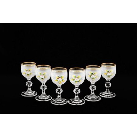 Bohemian Crystal Colored Glasses, 6-pc Antique WHITE Enamel Shot Vodka Tumblers