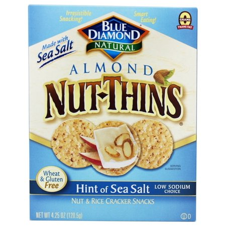 Blue Diamond Growers - Almond Nut-Thins Nut & Rice Cracker Snacks Hint of Sea Salt - 4.25 oz (pack of (Ritz Hint Of Salt Crackers Nutrition Facts)