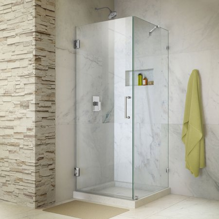 DreamLine Unidoor Lux 30 3/8 in. W x 30 in. D x 72 in. H Frameless Hinged Shower Enclosure with Support Arm in Chrome