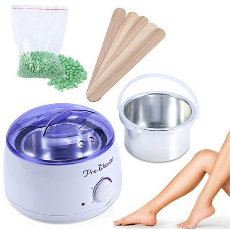 Hair Removal Waxing Kit Electric Heater Pot Wax Warmer with 100g Brazilian Hot Wax Bean and 5 Pcs Wax Applicator Sticks for Face Arm Armpits Legs Bikini (Apple)