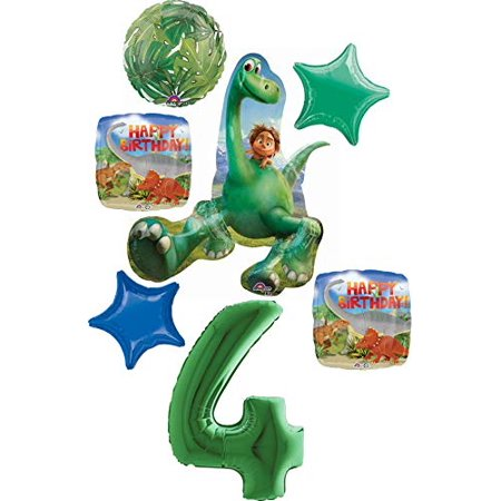 The Good Dinosaur Party Supplies 4th Birthday Arlo And Spot Balloon Bouquet Decorations Green Number 4