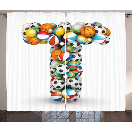 Letter T Curtains 2 Panels Set, Uppercase T with Big and Small Balls Children Motivation for Sports Competition, Window Drapes for Living Room Bedroom, 108W X 63L Inches, Multicolor, by