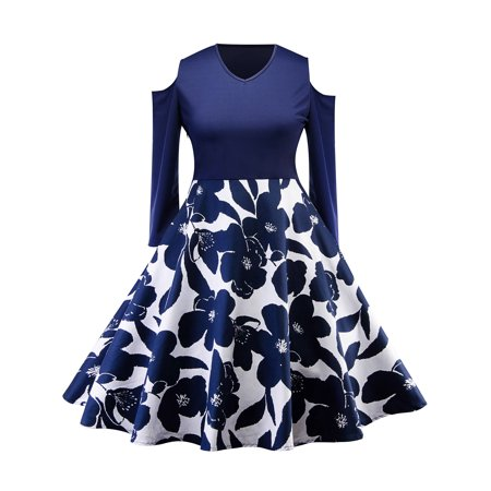 Plus size Vintage Dress for Womens Retro Floral Party Cocktail 50s 60s Hepburn Cold Shoulder V-Neck Housewife Prom Rockabilly Swing Dress - Plus Size 50s
