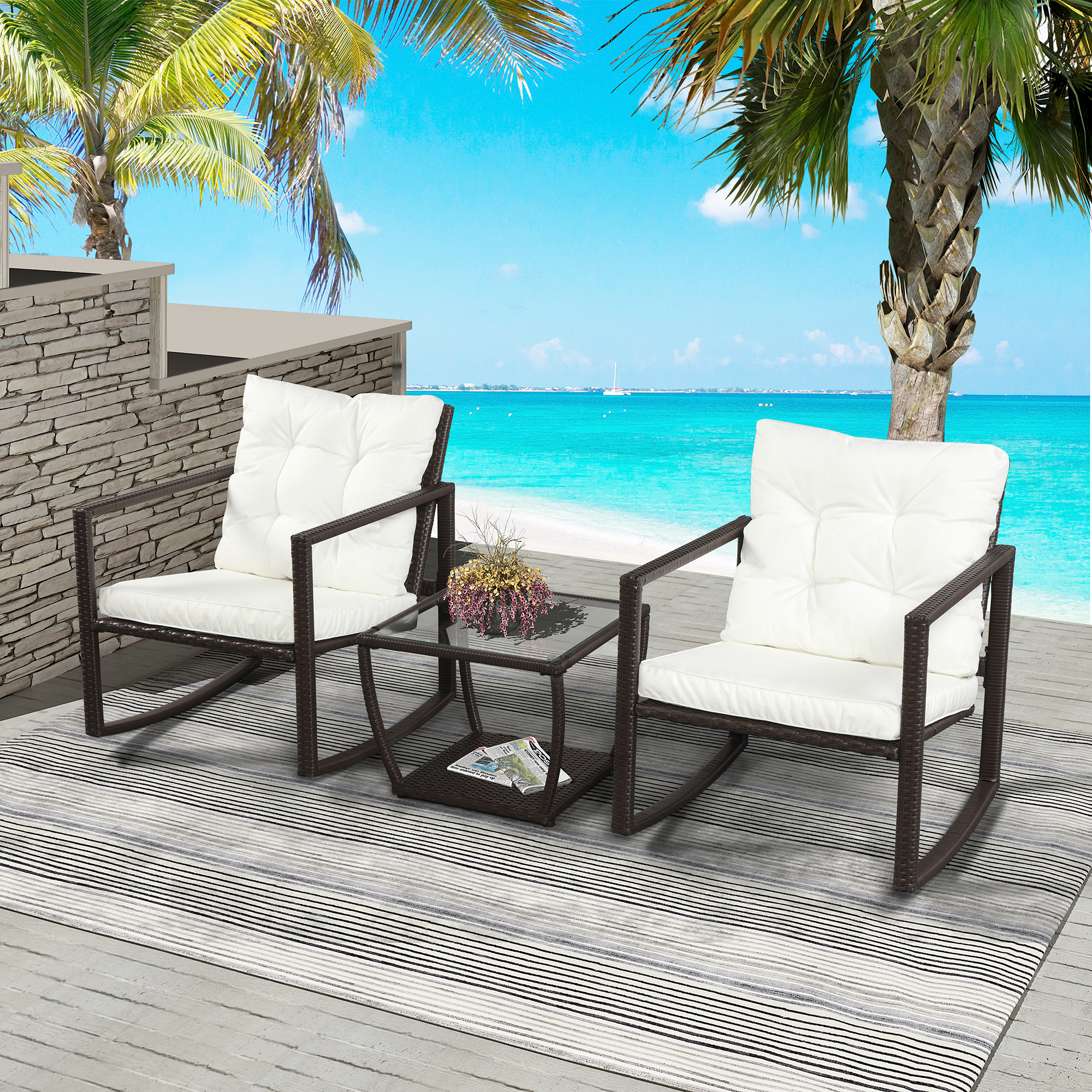 XIZZI Bistro Set Outdoor 3 Piece,Rocking Chair Patio Furniture with Glass Table and 2 Pillows Blue2