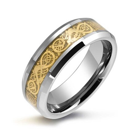 Golden Silver Two Tone Celtic Knot Dragon Inlay Couples Wedding Band Tungsten Rings For Men For Women Comfort Fit 8mm