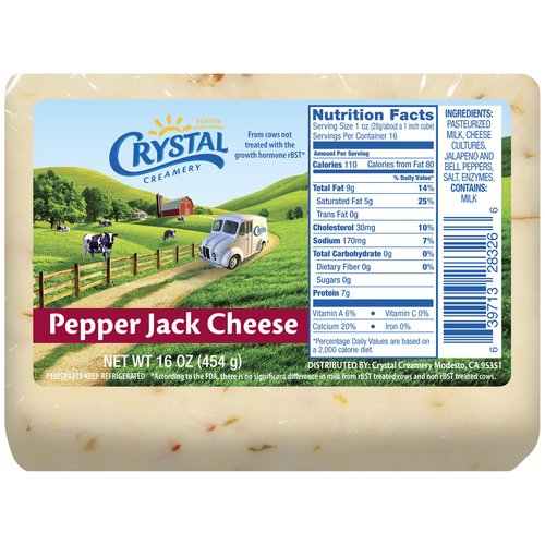 Crystal Creamery Pepper Jack Cheese, 16 oz