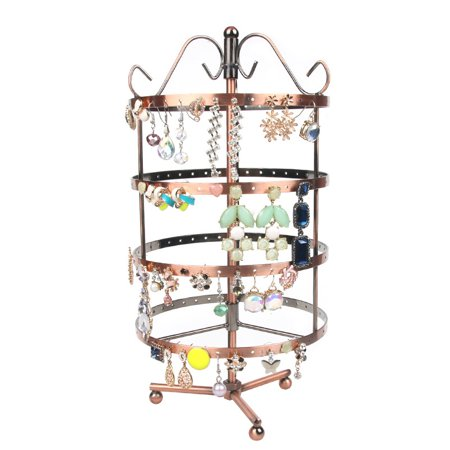 Earring Holder 4 Tiers Rotating Jewelry Tower 360 Degree Table Top 92 Pairs Earrings Display Rack Spinning Ear rings organizer Necklace Hanger Stand Antique Copper