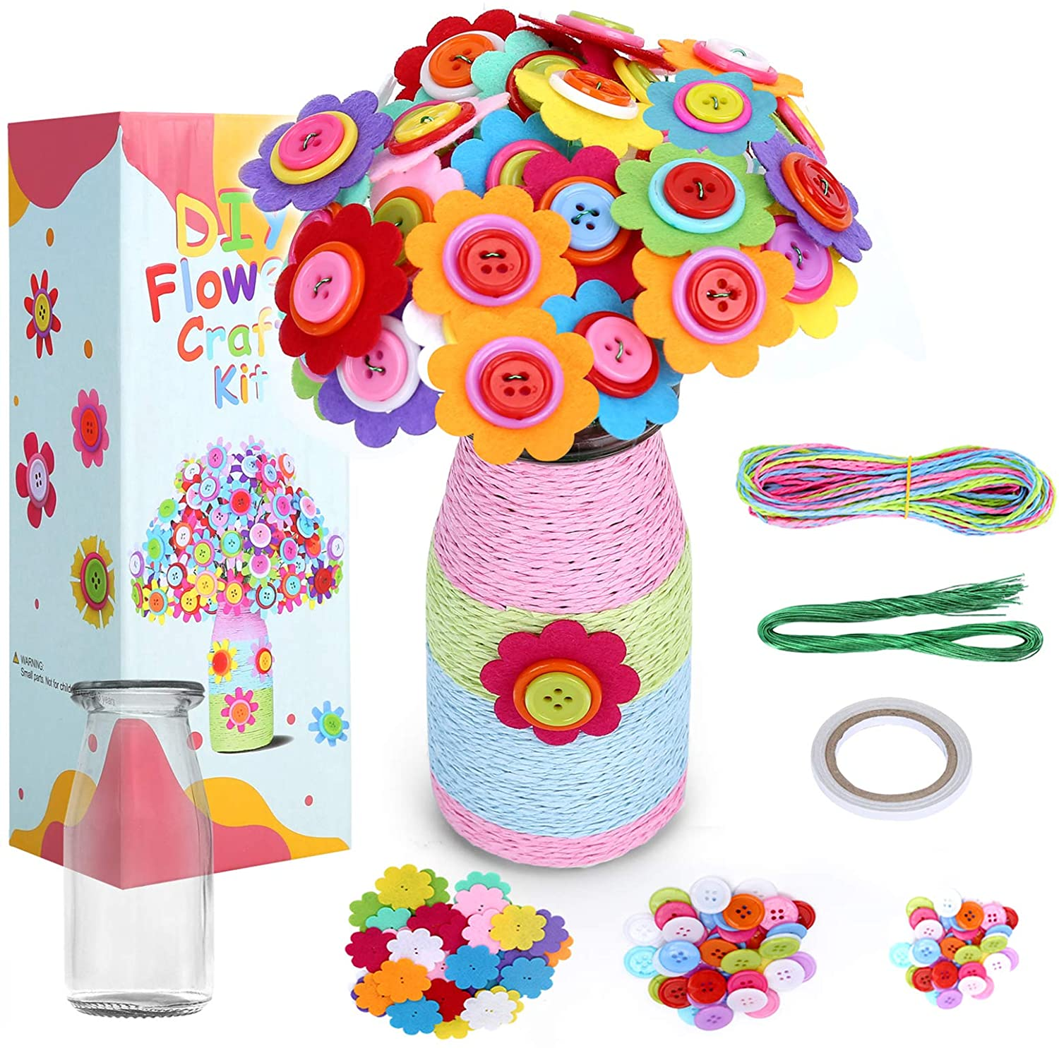 BEBEKULA DIY Flower Craft Kit Colorful Button and Craft Projects for Adults /// Kids 3Y+