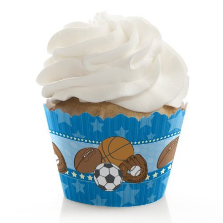 All Star Sports - Baby Shower or Birthday Party Cupcake Wrappers - Set of 12](Baby Shower Cupcake Papers)