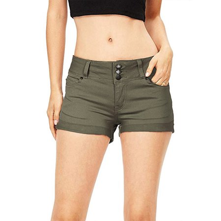 Mid Rise Womens Shorts - JDinms Women's stretchy Mid Rise Denim Shorts