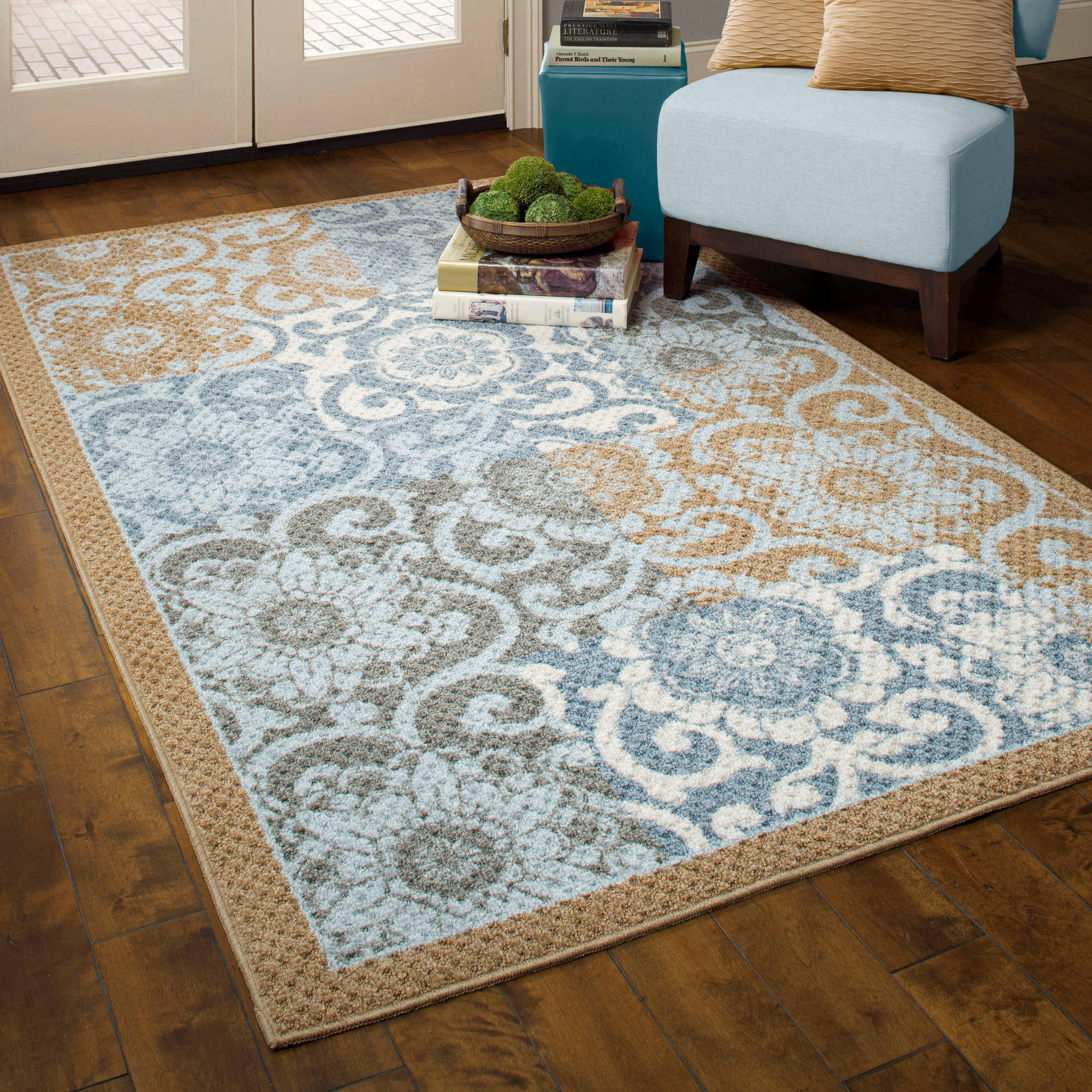 Better Homes and Gardens Pretty Peony Blue/Brown Textured Print Rug Program