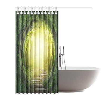 GCKG Stone Tree Forest Shower Curtain Hooks 66x72 inches Green Yellow Fabric Stone Road Flagging in Magic Dark Forest - image 2 of 3