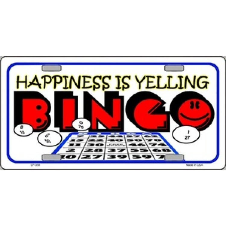 Smart Blonde Happiness is Yelling Bingo License Plate