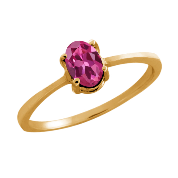 0.50 Ct Oval Pink Tourmaline 14K Yellow Gold Ring by