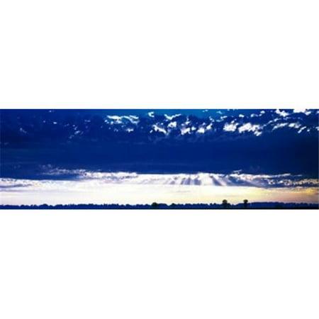 Ca Panoramic Map - Evening Clouds Sacramento CA USA Poster Print