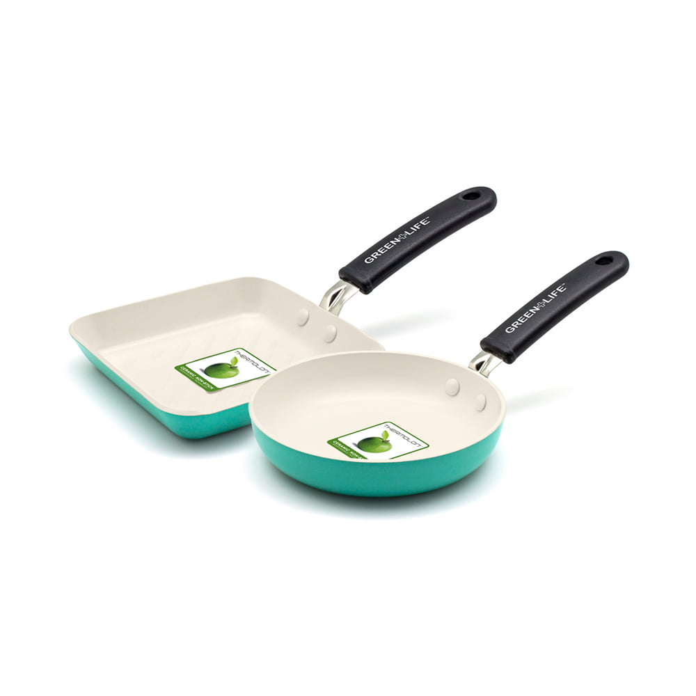 Generic GreenLife Ceramic Non-Stick Mini Square Grill Pan And Mini Round Egg Pan Set by GreenLife