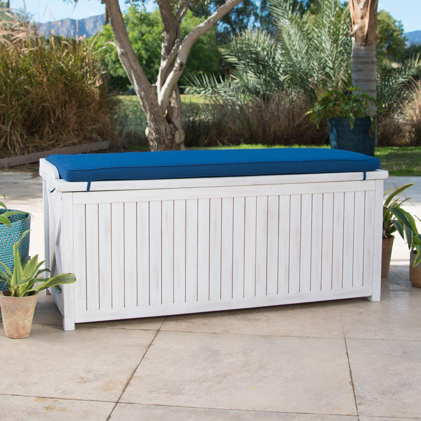 Belham Living Brighton Beach 48 in. Outdoor Storage Deck Box with Cushion White by