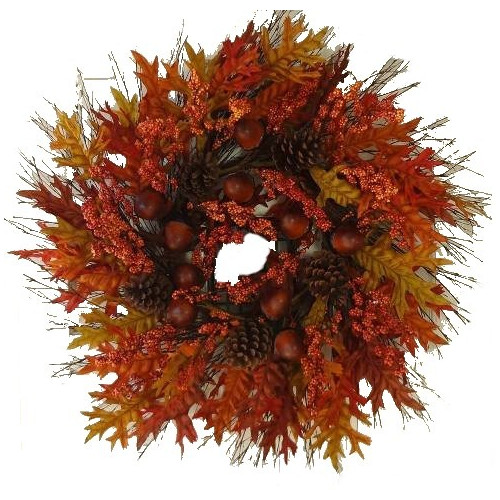 Silk Flower Depot Acorn Oak Leaves Wreath