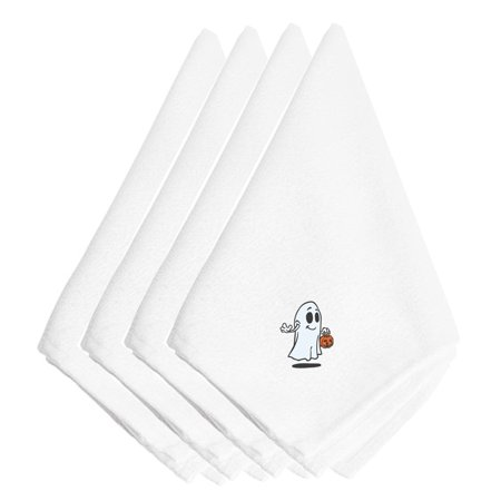 Halloween Trick or Treat Ghost Embroidered Napkins Set of 4 EMAI0005NPKE - Halloween Ghost Trick Or Treat