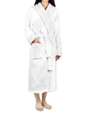 5c3666a455048 Product Image Deluxe Women Fleece Robe with Satin Trim | Luxurious Plush  Spa Bathrobe Waffle Design