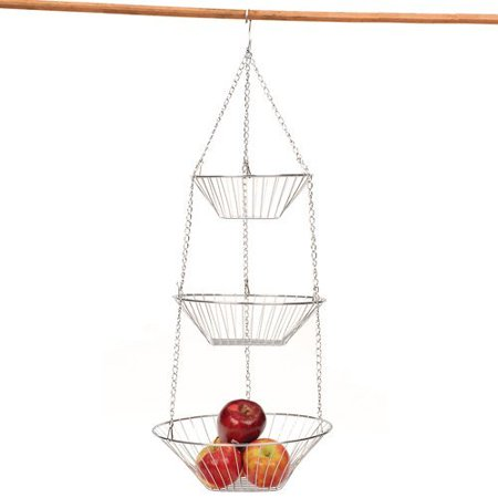 RSVP 30-by-12-Inch 3-Tier Wire Hanging  Basket, Chrome ()
