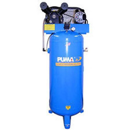 Puma Industries Air Compressor  Pk 6060V  Professional Commercial Single Stage Belt Drive Series  3 Hp Running  135 Max Psi  230 1 Voltage Phase  60 Gallons  305 Lbs