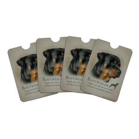 Rottweiler Rottie Dog Breed Credit Card RFID Blocker Holder Protector Wallet Purse Sleeves Set of 4