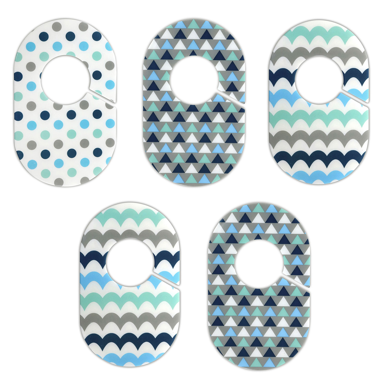 Little Haven Nursery Closet Organizers Dividers - Blue and Green Geometric Designs - Set of 5 Plastic Baby Closet Rod Dividers