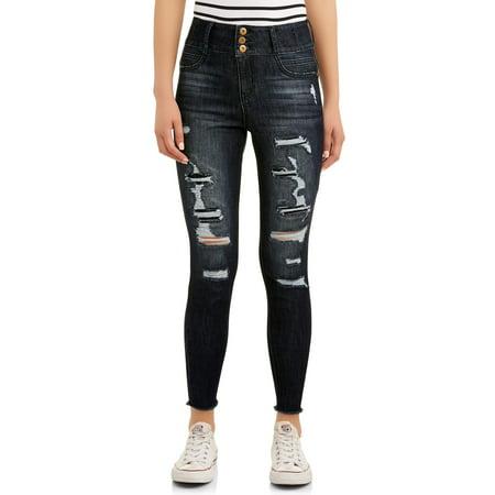 No Boundaries Juniors' Corset High Waist with Destruction Jeans