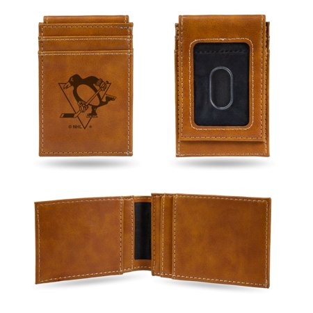 Laser Engraved Money Clip - Pittsburgh Penguins NHL Laser Engraved Brown Front Pocket Wallet/Money Clip