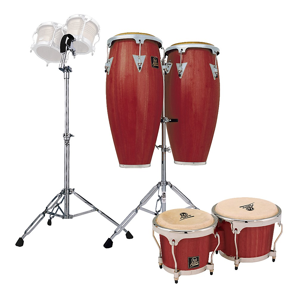 LP Darkwood Aspire Conga Set with Bongos and Stand by LP