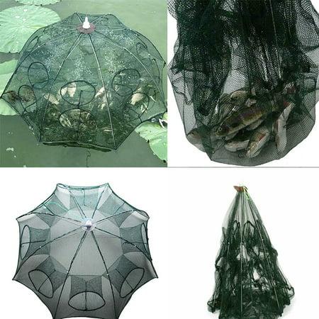 4-10Holes Fishing Net Shrimp Cage Foldable Crab Fish Crayfish Prawn Trap Cast  ✼