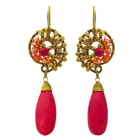 Kenneth Lane Coral Earrings - Graceful Teardrop Red Coral Brass Embellished Earrings