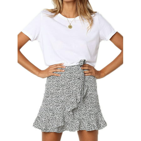 - Womens Leopard Printed Summer Ruffle Short Mini Wrap Skirt