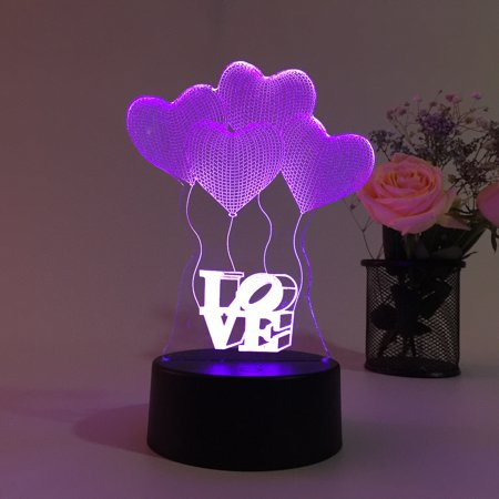 3D LED Romantic Love Heart Balloon Touch Lamp with USB 7 Color Change Light for Night Table, Bedroom Decor, Gift Holiday Dots Heart Night Light