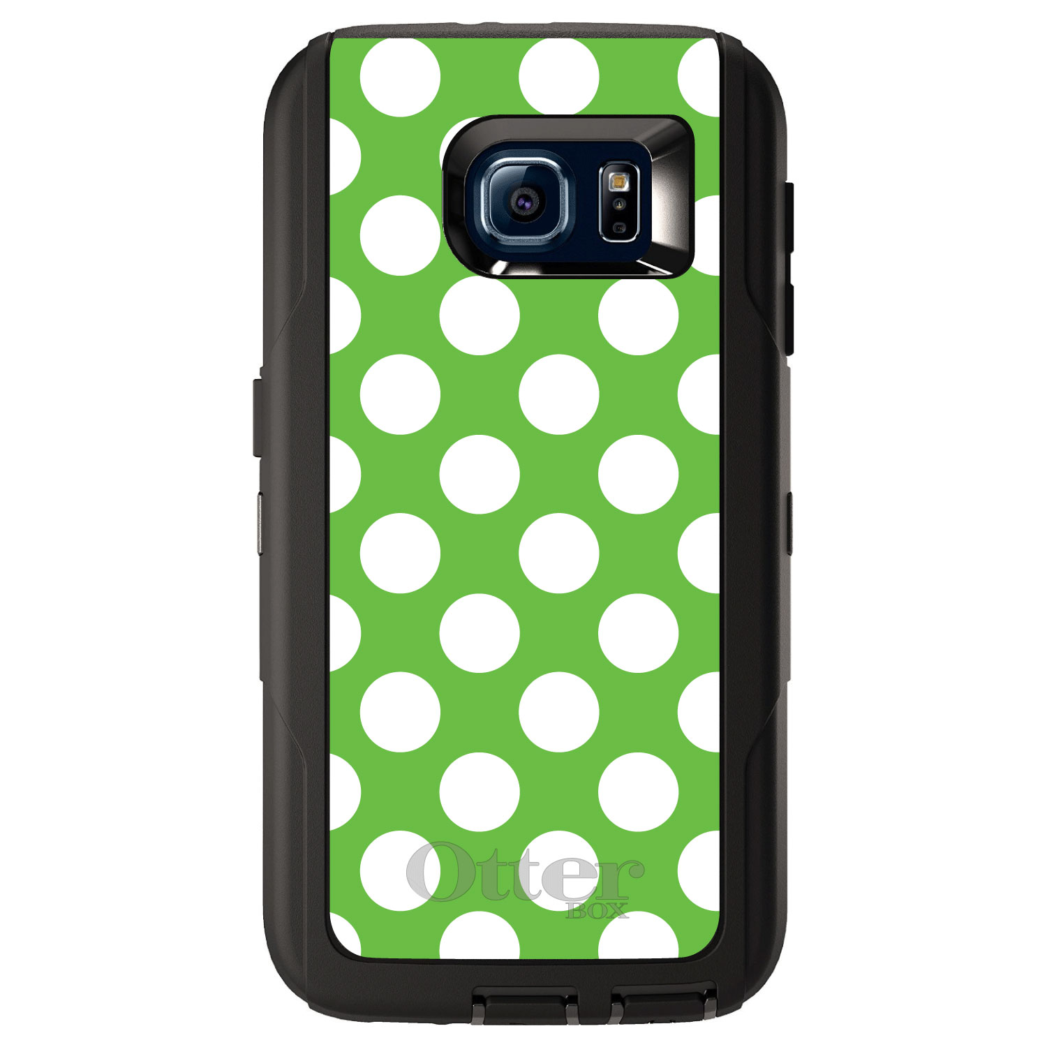 CUSTOM Black OtterBox Defender Series Case for Samsung Galaxy S6 - White & Green Polka Dots