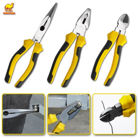 Strong Camel 3PCS Set Steel Nippers Snips Locking Jaw Pliers Wire Strippers
