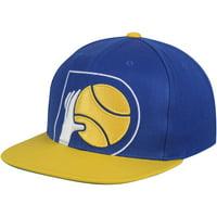 Indiana Pacers Mitchell & Ness Hardwood Classics Cropped XL Logo Snapback Adjustable Hat - Navy/Gold - OSFA