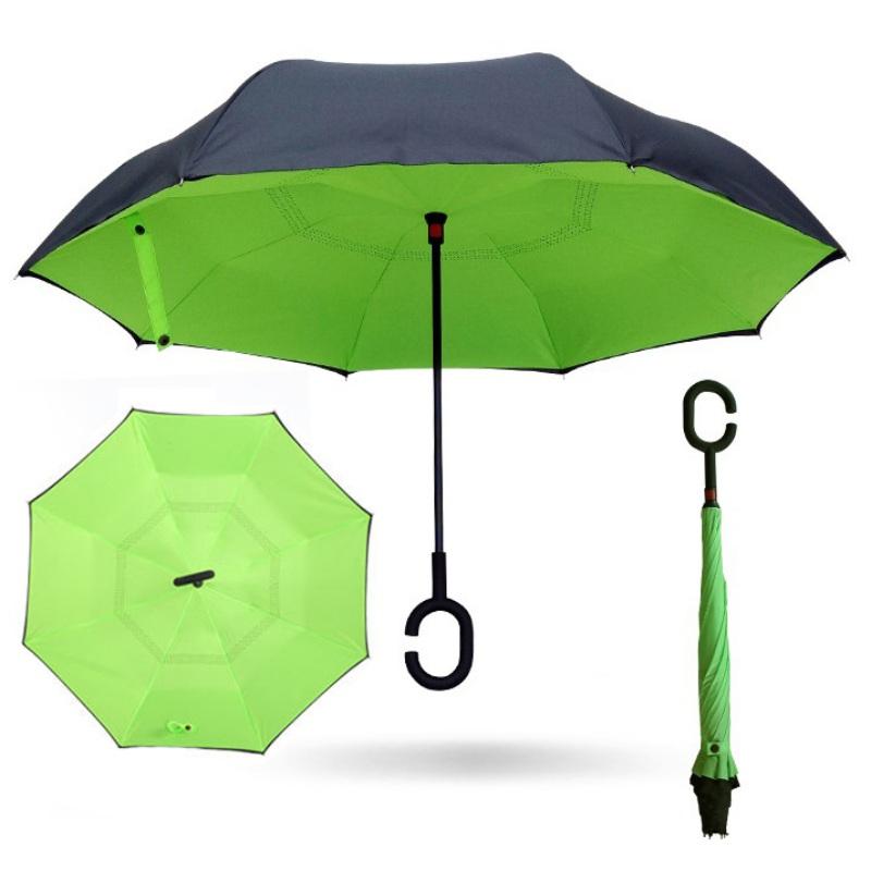 Double Layer Umbrella C-Handle Windproof Folding Inverted Upside Down Reverse eT