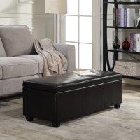 "GHP 48""x18.25""x16.24"" Black Faux Leather Contemporary Flip Top Storage Ottoman Bench"