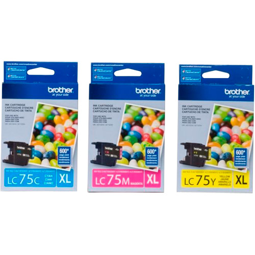 Brother LC753PKS Cyan/Magenta/Yellow Ink Cartridge, 3pk