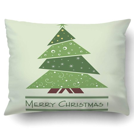ARTJIA Xmas Colorful Illustration With Decorated Green Christmas Tree Christmas Theme Pillow Case Cushion Cover Case Throw Pillow Case 20x30 inches](Cubicle Christmas Decorating Themes)