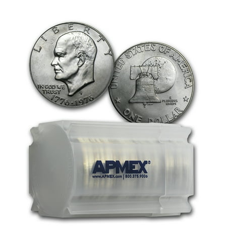 1976-S 40% Silver Eisenhower Dollar 20-Coin Roll (Type 1)