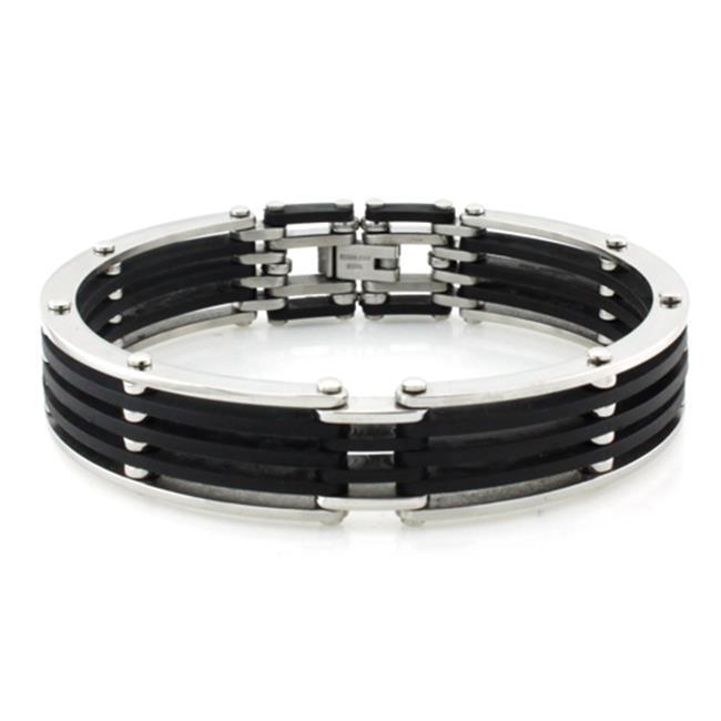 EWC B30252 Two-Tone Stainless Steel Biker Rubber Cuff Bracelet