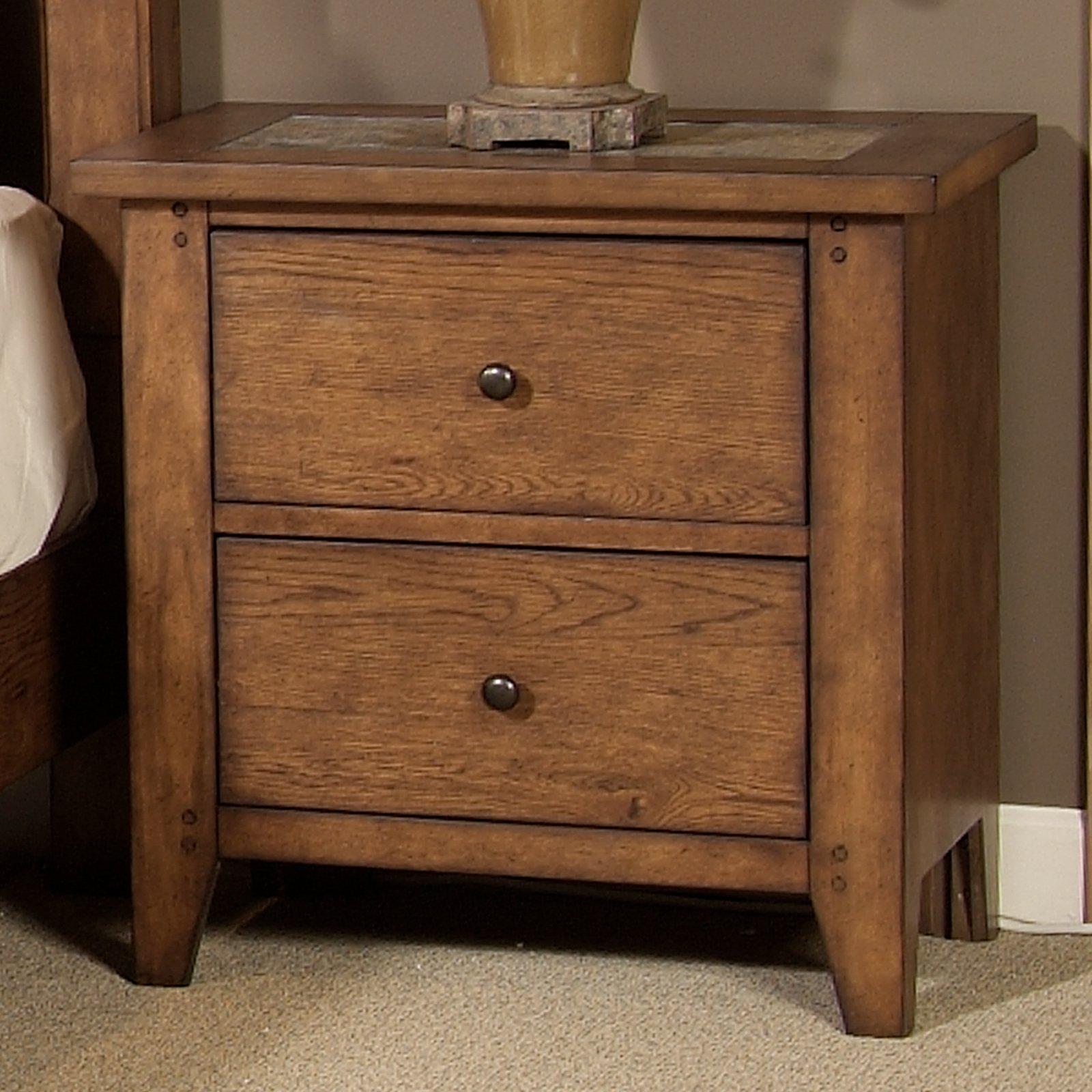Liberty Furniture Hearthstone Slate 2 Drawer Nightstand Rustic Oak