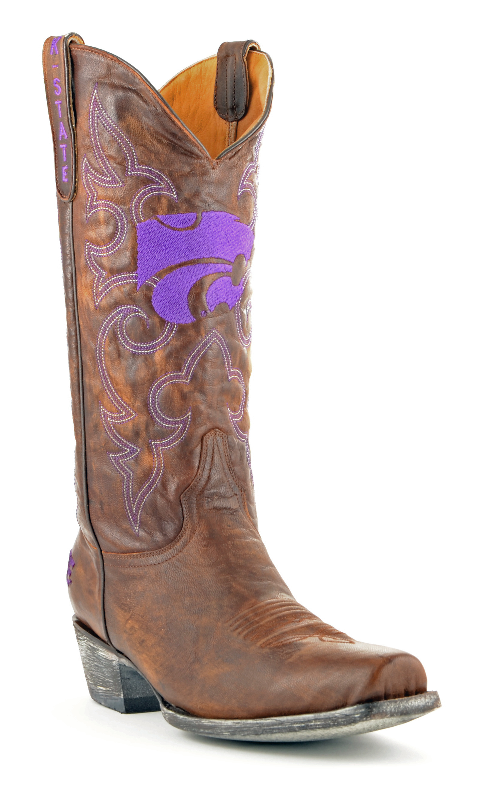 "Men's Tan Kansas State Wildcats 13"" Boardroom Embroidered Boots by GameDay Boots"