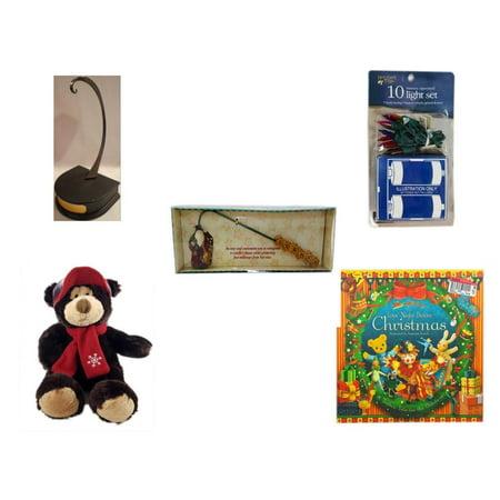 Ornament Display Holder (Christmas Fun Gift Bundle [5 Piece] - Hallmark Ornament Display Holder QXG4802 -  Time Battery Operated 10 Light Set - Debbie Mumm Button Santa Candle Snuffer - HugFun Super)
